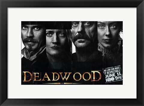 Framed Deadwood Black and White Close Up Print