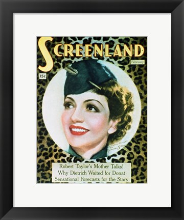 Framed Claudette Colbert Screenland Print