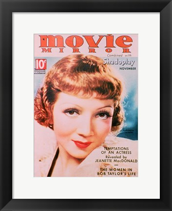 Framed Claudette Colbert Movie Mirror Cover Print