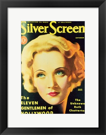 Framed Marlene Dietrich - Silver Screen Print