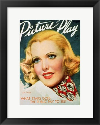 Framed Jean Arthur - Picture play Print