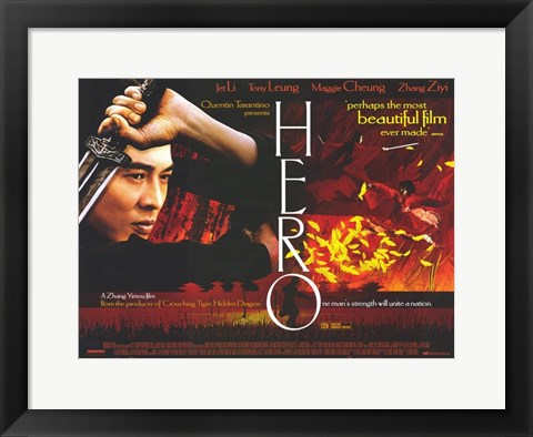 Framed Hero Nameless Jet Li with Sword Print