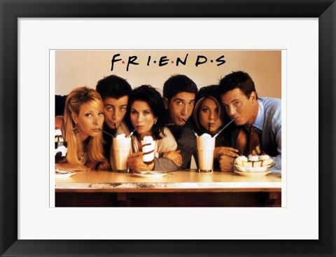 Framed Friends (TV) Cast Drinking Milkshakes Print