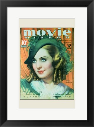 Framed Norma Shearer On Movie Mirror Print