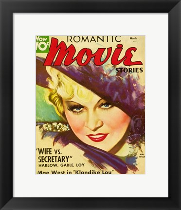 Framed Mae West - Romantic Movie Stories Print