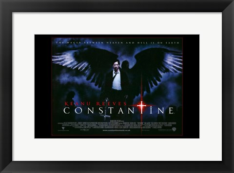 Framed Constantine - black wings Print