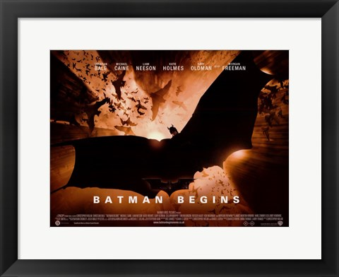 Framed Batman Begins Bat Logo Horizontal Print