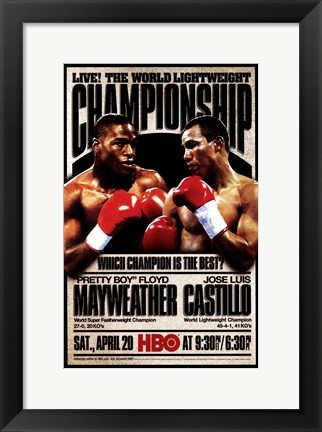 Framed Pretty Boy Floyd Mayweather vs Jose Luis Castillo Print