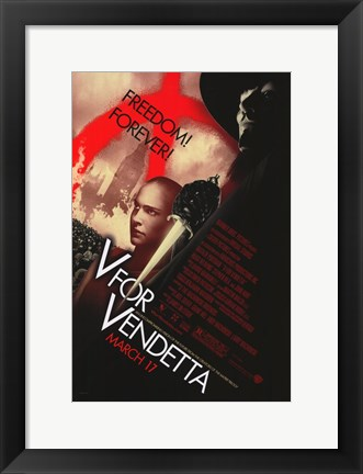 Framed V for Vendetta Print