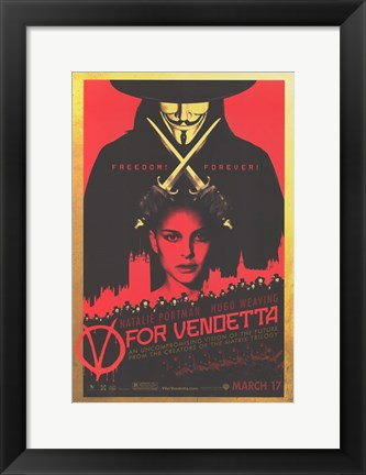 Framed V for Vendetta Black and Red Print