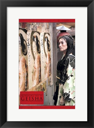 Framed Memoirs of a Geisha - woman standing by a wall Print