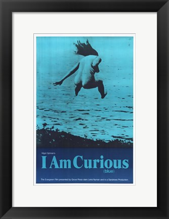 Framed I Am Curious (Blue) Print