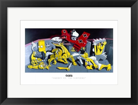 Framed Snoopy vs. The Simpsons Print