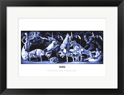 Framed Chicken, Egg, Evolution Print