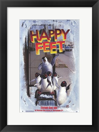 Framed Happy Feet Bus Stop Print