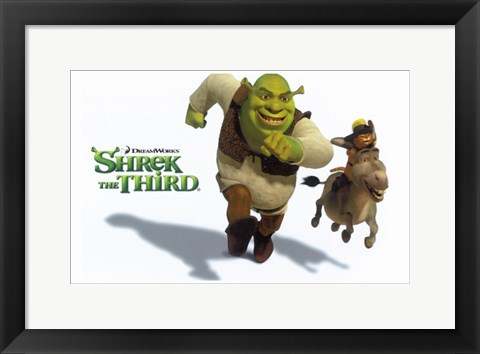 Framed Shrek the Third Racing Donkey Print