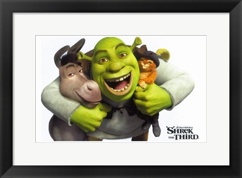 Framed Shrek the Third - Hugging Donkey & Puss in Boots Print