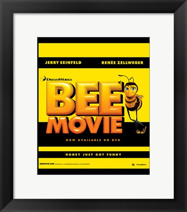 Framed Bee Movie Yellow and Black Print