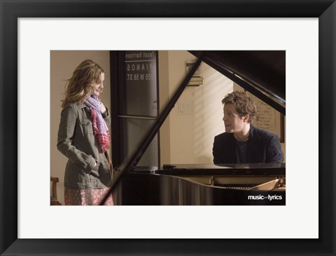 Framed Music and Lyrics - couple at a piano Print