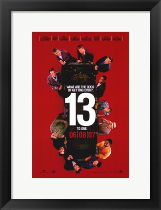 Framed Ocean's Thirteen (Red) Print