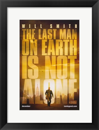 Framed I Am Legend - The last man on earth is not alone Print
