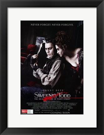 Framed Sweeney Todd Never Forget Never Forgive Print