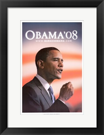 Framed Barack Obama - (Speech) Campaign Poster Print