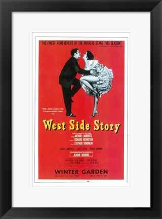 Framed West Side Story (Broadway) red cover Print