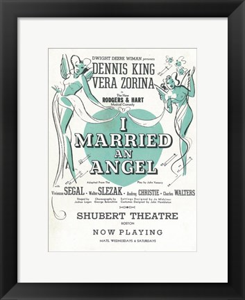 Framed I Married An Angel (Broadway) Print