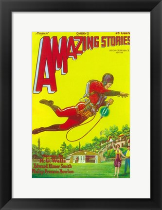 Framed Amazing Stories (Pulp) - yellow Print