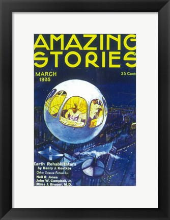 Framed Amazing Stories (Pulp) - blue Print