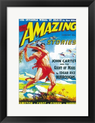 Framed Amazing Stories (Pulp) - man fighting Print