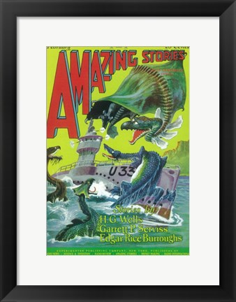 Framed Amazing Stories (Pulp) - sea creatures Print