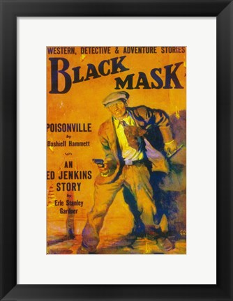 Framed Black Mask (Pulp) Print