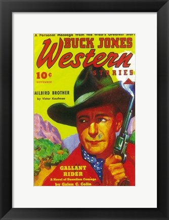 Framed Buck Jones Western (Pulp) Print
