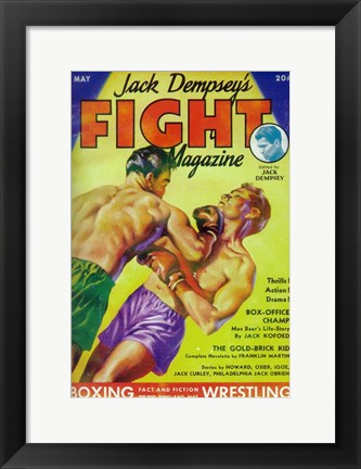 Framed Jack Dempsey's Fight Magazine (Pulp) Print