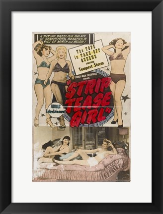 Framed Striptease Girl Film 1952 Print