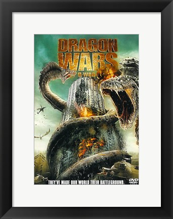Framed D-War Dragons Attacking Buildings Print