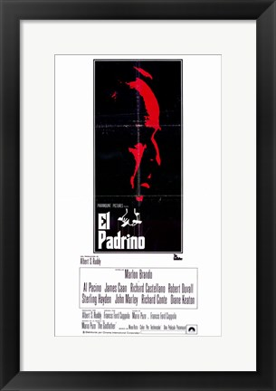 Framed Godfather Red Profile Spanish Print