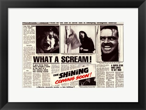 Framed Shining - news paper Print