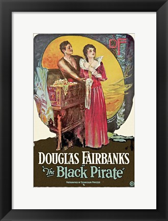 Framed Black Pirate - couple standing Print
