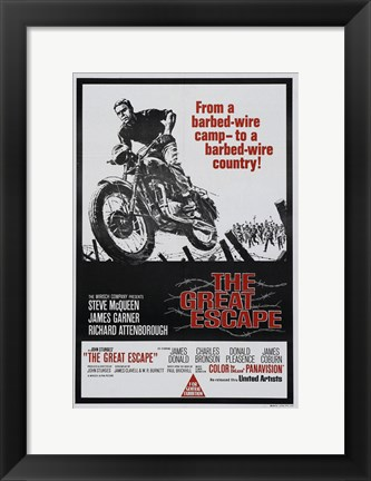 Framed Great Escape Motorcycle Print
