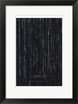 Framed Matrix Reloaded B&W Code Print