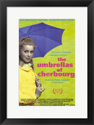 Framed Umbrellas of Cherbourg Blue Umbrella Print