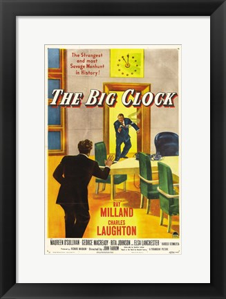 Framed Big Clock - Ray Milland Print