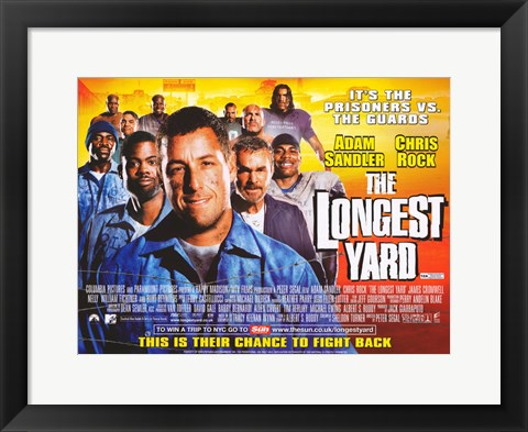 Framed Longest Yard Sandler and Chris Rock Print