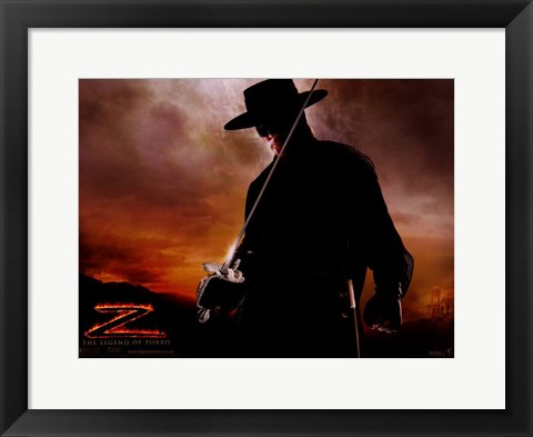Framed Legend of Zorro - dressed in all black Print