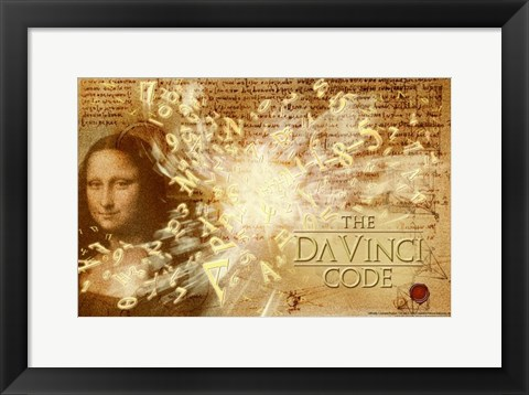 Framed Da Vinci Code Mona Lisa Text Print
