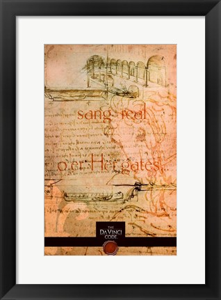 Framed Da Vinci Code Orange Sketch Print