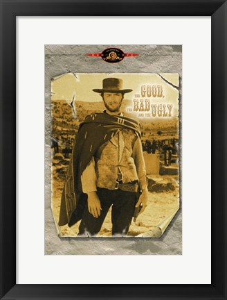 Framed he Good, The Bad, and the Ugly Sepia Colored Print